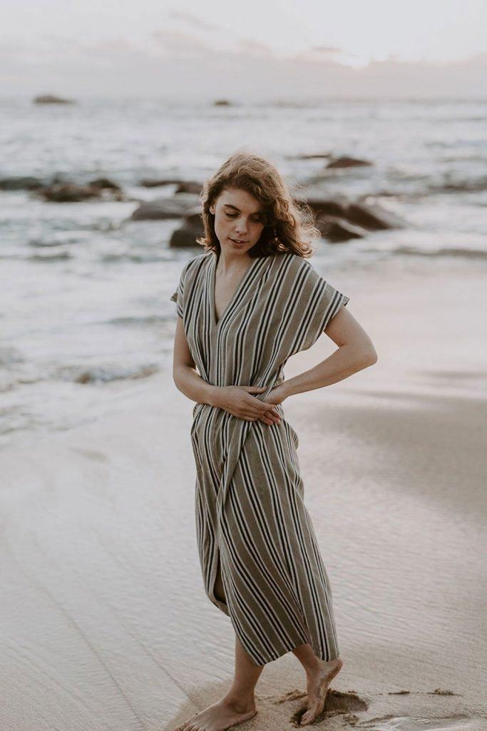 Maud Kaftan Sage dress from Galerie.LA